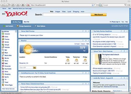 My Yahoo para personalizar páginas de inicio