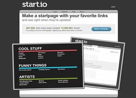 start.io para personalizar páginas de inicio