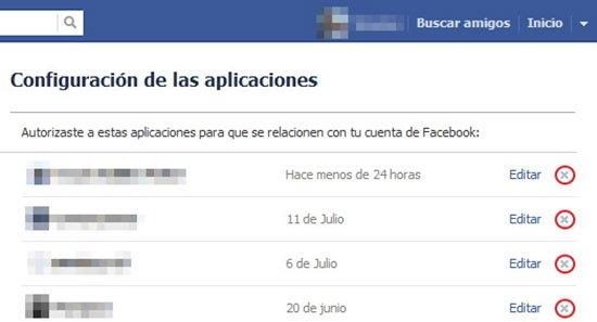 Elimina las Aplicaciones sospechosas de Facebook