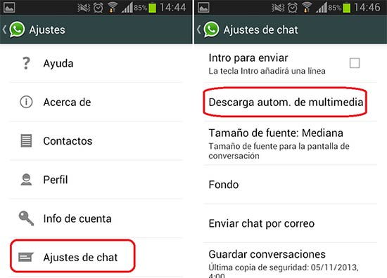 Liberar espacio de WhatsApp - Desactivar la Descarga de archivos automática